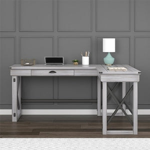 Ameriwood Home Wildwood L Shaped Desk With Lift Top Distressed Whitewash