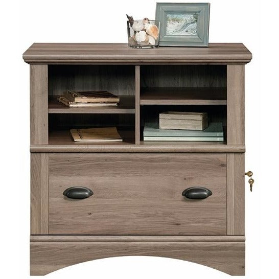 (Scratch & Dent) Sauder Harbor View Letter Size/Legal Size Lateral File Cabinet, 1 Drawer, Salt Oak