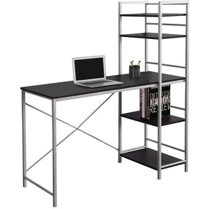 (Scratch & Dent) Monarch Specialties Outlet Metal Computer Desk With Bookcase, Cappuccino/Silver