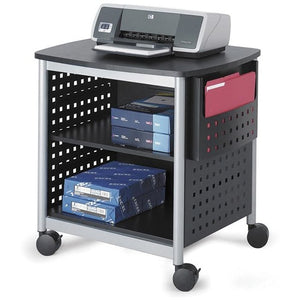 "Safco Scoot Deskside Printer Stand, 26 1/2""H x 26 1/2""W x 20 1/2""D, Black/Silver"