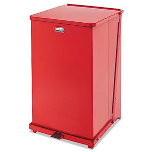 (Scratch & Dent) Rubbermaid Commercial Defenders Square Steel Step Can, 40 Gallons, Red