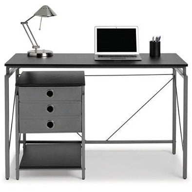 (Scratch & Dent) Brenton Studio Achiever Contemporary Metal Desk With File, Black