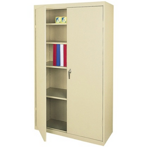 "Realspace 72"" Steel Storage Cabinet With 4 Adjustable Shelves, 72""H x 36""W x 18""D, Putty"