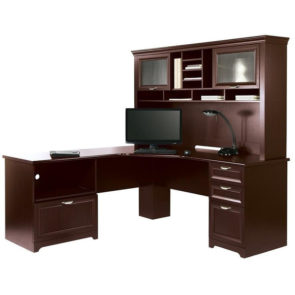 Realspace Magellan Performance Outlet Collection L Desk and Hutch, Cherry