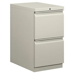 "(Scratch & Dent) Basyx by HON Mobile Pedestal Vertical Filing Cabinet, 2 Drawers, 28""H x 15""W x 20""D, Light Gray"
