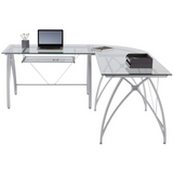 Realspace Vista L-Shaped Glass Computer Desk, Silver