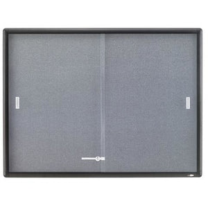 "(Scratch & Dent) Quartet Outlet Sliding Door Fabric Bulletin Board, 36""H x 48""W, 2 Doors"
