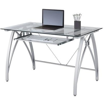 Realspace Outlet Vista Glass Computer Desk, Silver