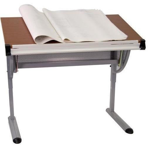 (Scratch & Dent) Flash Furniture Adjustable Drawing And Drafting Table, Pewter