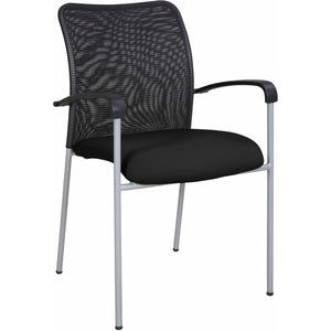Weston Mesh Stackable Visitor Chair, Black