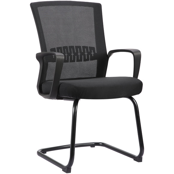 Haley II Ergonomic Mesh Visitor Sled Based Chair, Jet Black