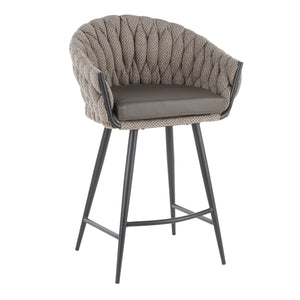 Trenza Series Braided Fabric Counter Stool