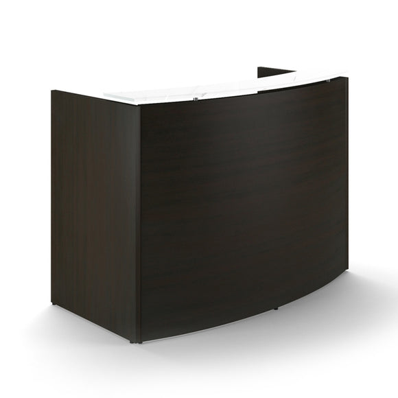 Chiarezza Curved Reception Desk with White Glass Counter Top
