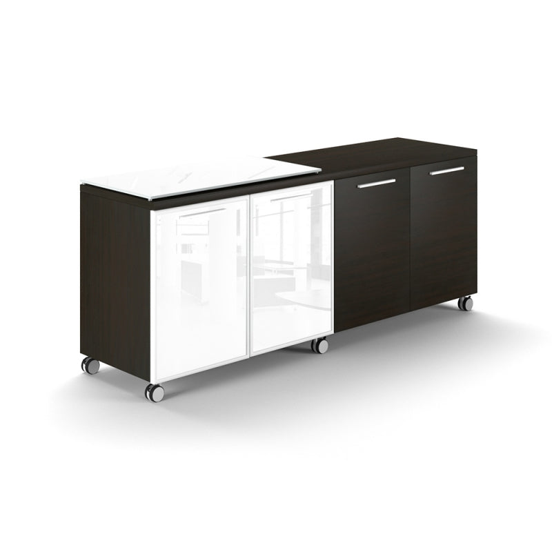 Chiarezza 4 Door Mobile Credenza Semi Glass Floated-Top