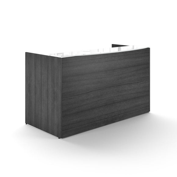 Chiarezza Reception Desk w/ Transactional Floated White Glass Top