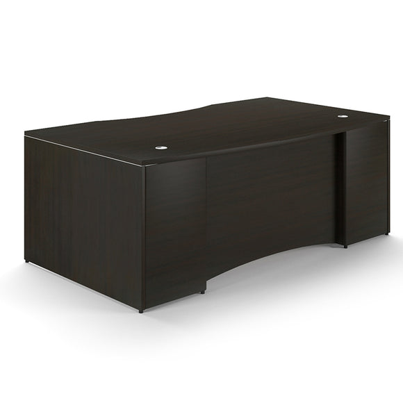 Chiarezza Bow Front Desk Shell With Laminate Modesty Panel