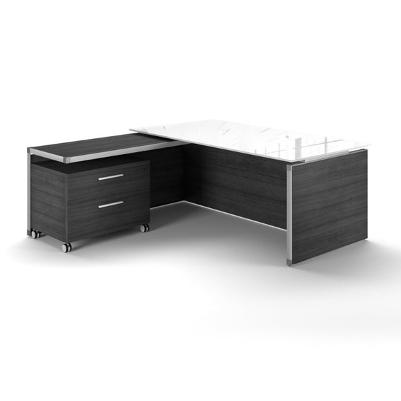 Chiarezza Executive Split Level L-Shaped Desk with White Glass Top