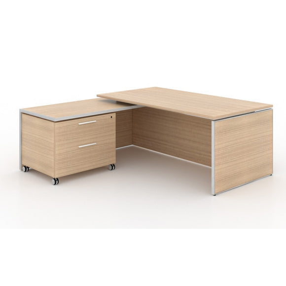 Chiarezza Executive Split Level L-Shaped Desk