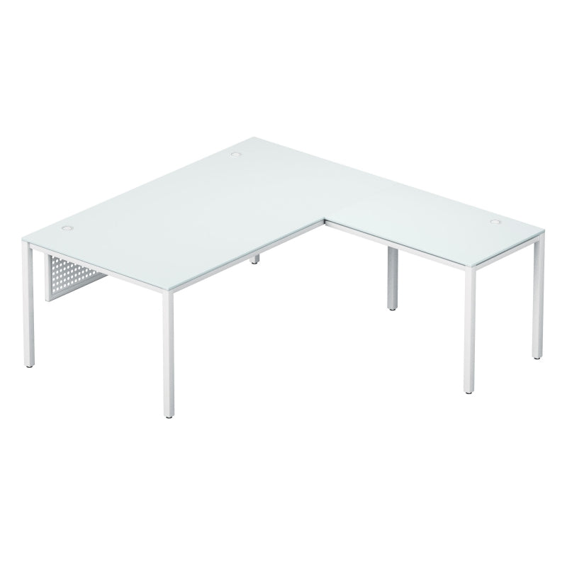 "Visione L Desk 72"" x 78"" x 29"" White Glass Top"