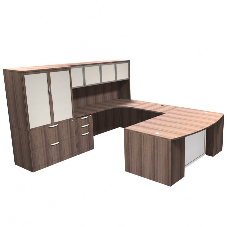 EMPRESARIO EXECUTIVE U-SHAPED BOW FRONT DESK WITH GLASS DOOR HUTCH AND EXTRA FILING STORAGE