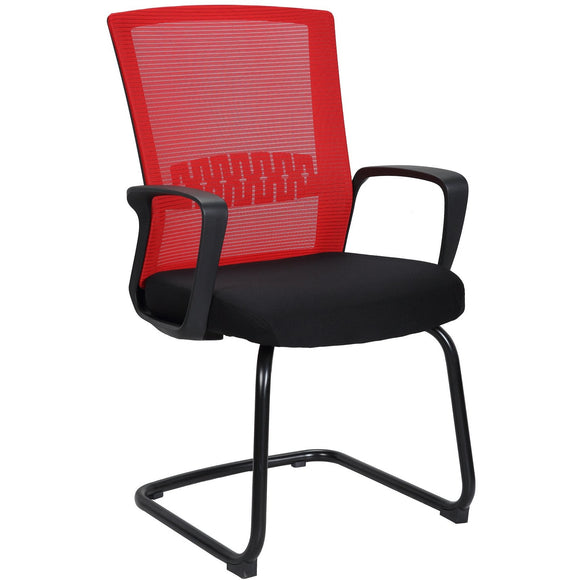 Haley Ergonomic Mesh Visitor Sled Based Chair, Red