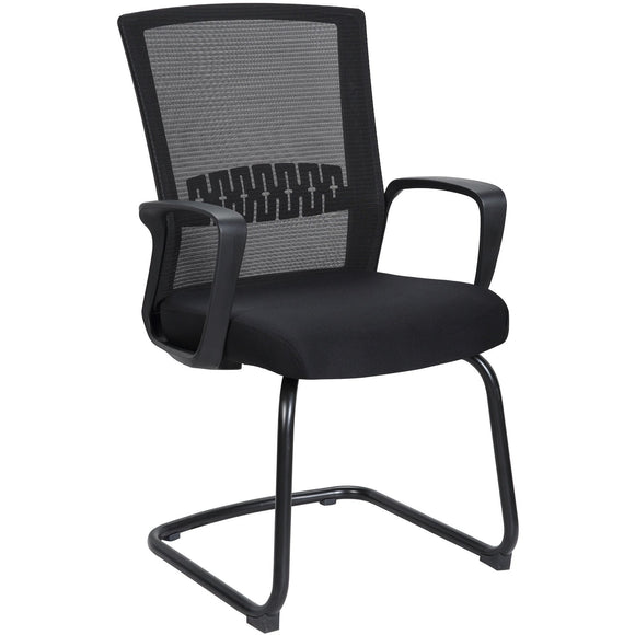 Haley Ergonomic Mesh Visitor Sled Based Chair, Black