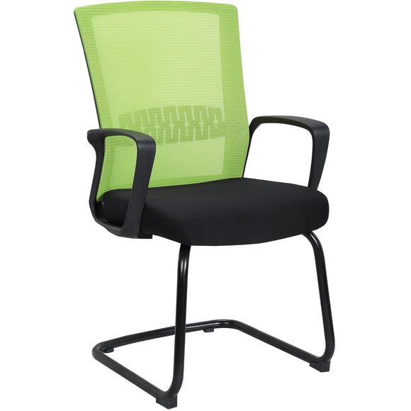 Haley Ergonomic Mesh Visitor Sled Based Chair, Green