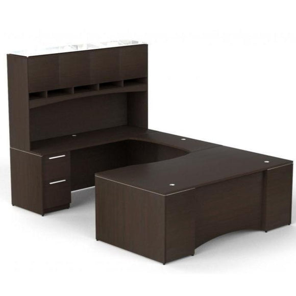 Chiarezza Executive U-Shaped Desk with Overhead Hutch