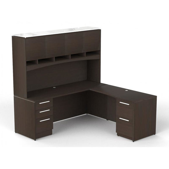 Chiarezza L-Shaped Desk w/ Hutch & Two Pedestals