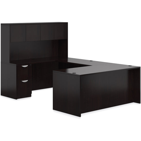 Preva U-Shaped, Squared Off, Desk with Hutch