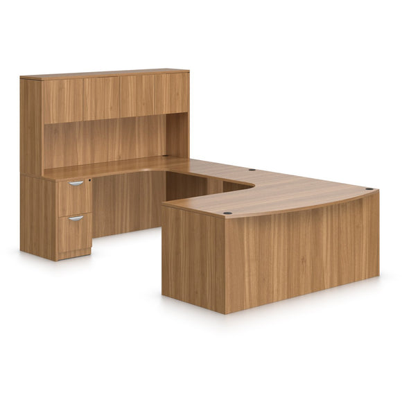 Preva U-Shaped, Rounded, Desk with Hutch