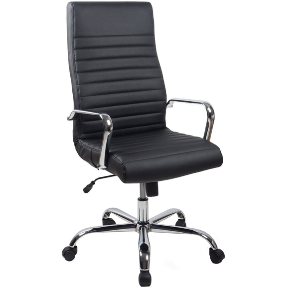 RealBiz II Modern Comfort Series High-Back Leather Chair, Jet Black