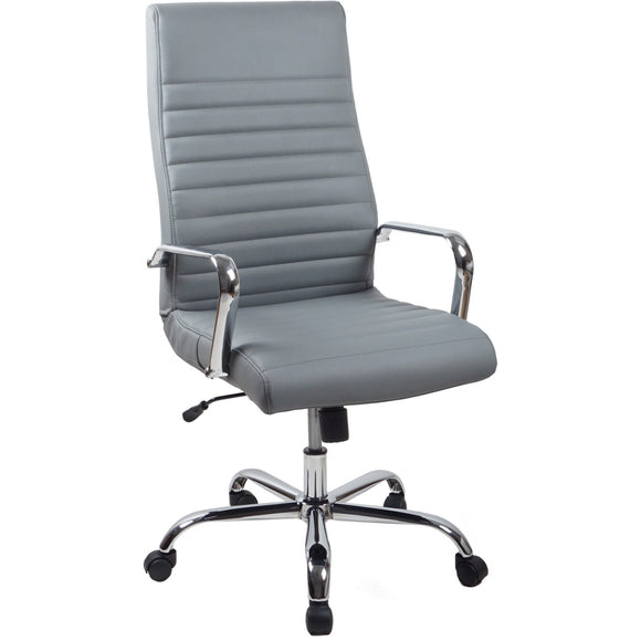 RealBiz II Modern Comfort Series High-Back Leather Chair, Slate Gray