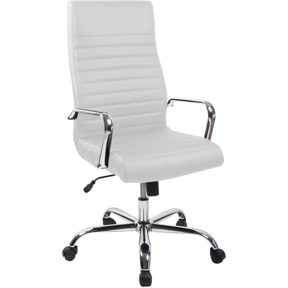 RealBiz II Modern Comfort Series High-Back Leather Chair, Pure White