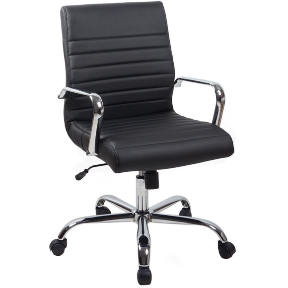 RealBiz II Modern Comfort Series Mid-Back Bonded Leather Chair, Jet Black