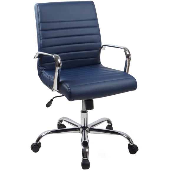 RealBiz II Modern Comfort Series Mid-Back LeatherPro Chair, Midnight Blue