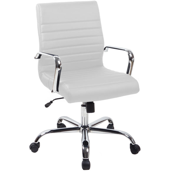 RealBiz II Modern Comfort Series Mid-Back Bonded Leather Chair, Pure White