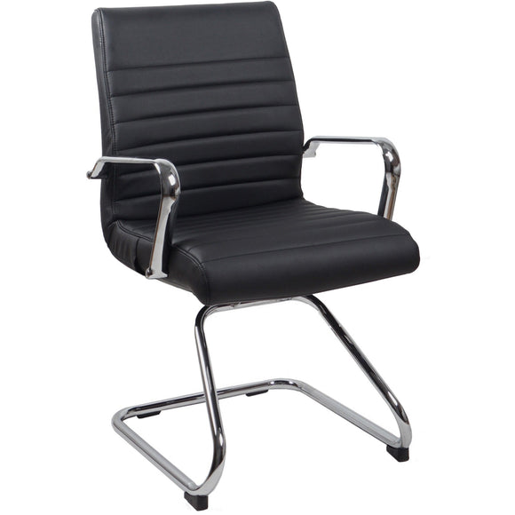 RealBiz II Modern Comfort Series Visitor Leather Chair, Jet Black
