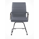 RealBiz II Modern Comfort Series Visitor Leather Chair, Slate Gray