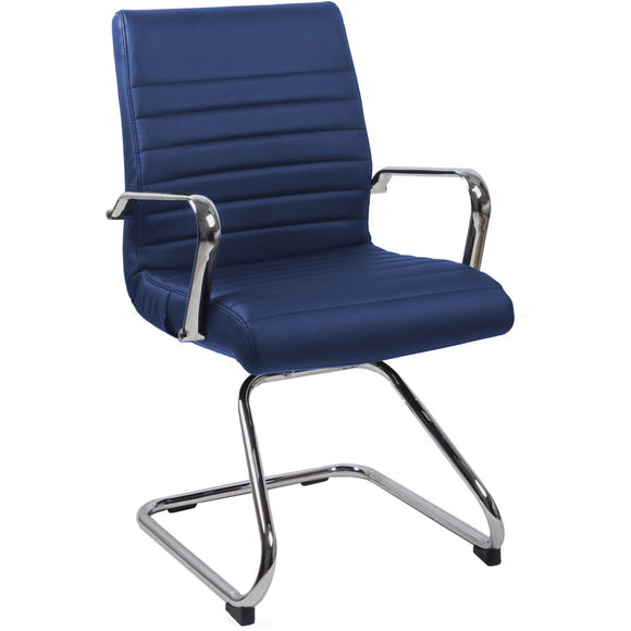 RealBiz II Modern Comfort Series Visitor Leather Chair, Midnight Blue