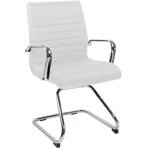 RealBiz II Modern Comfort Series Visitor Leather Chair, Pure White