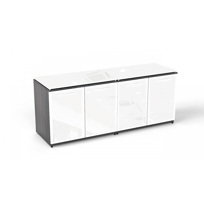 Chiarezza Double Storage Unit with White Glass Doors & Tops