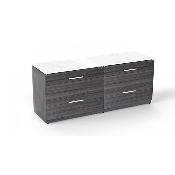 Chiarezza Lateral File with White Glass Tops