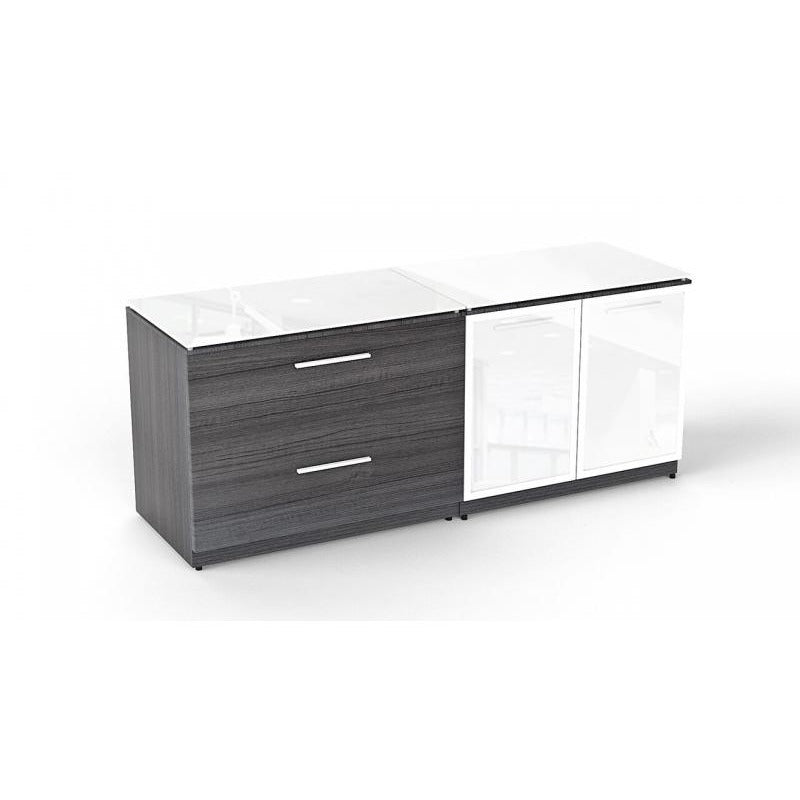 Chiarezza Lateral File & Storage Cabinet Combo, With Glass Tops