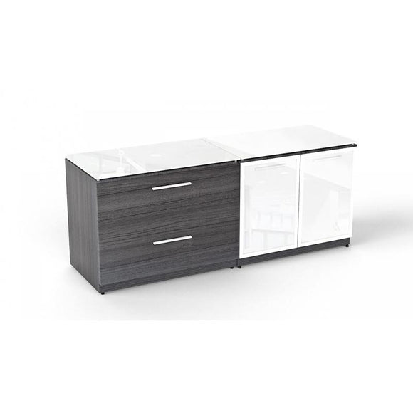 Chiarezza Lateral file with tops and partial glass doors