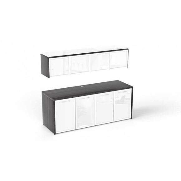 Chiarezza Double Credenza with White Glass Doors