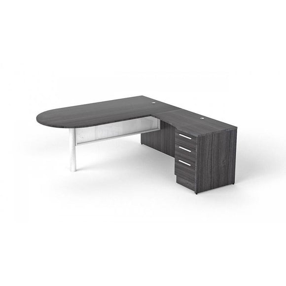 Chiarezza L-Shaped with Bullet End Desk