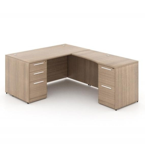 Chiarezza L-Shaped Desk w/ Two Pedestals