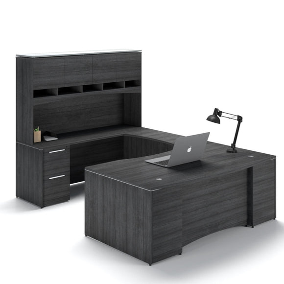 Chiarezza Bow Front Executive U-Shaped Desk with Overhead Hutch