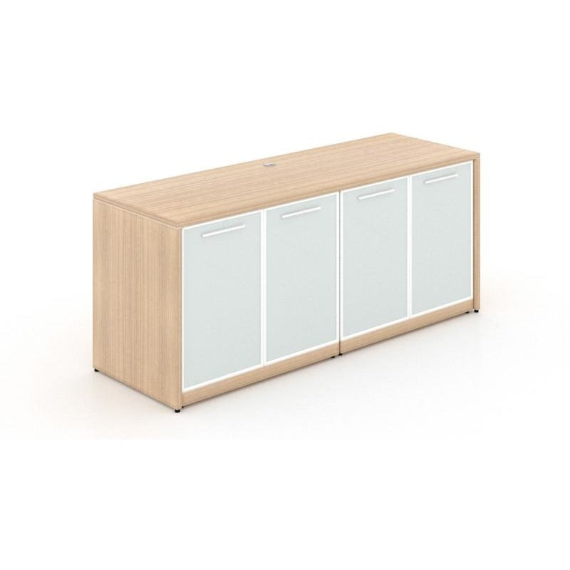 Chiarezza Storage Credenza with White Glass Doors